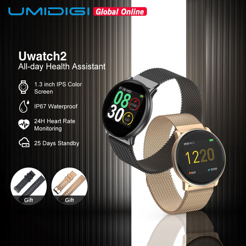 UMIDIGI Uwatch2 Smart Watch For Andriod,IOS 1.33' Full Touch Screen IP67 25 days Standby 7 Sport Modes Full Metal Unibody reloj - RELEVAZA