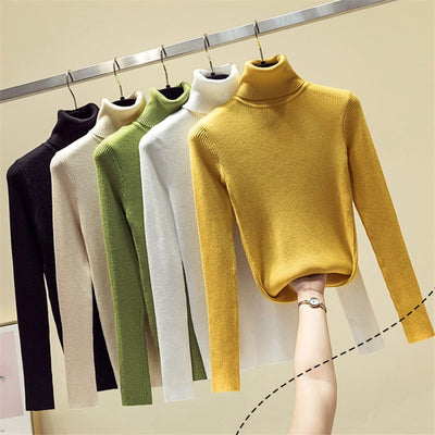 Knit Sweater Women Turtleneck Casual Pure Cashmere Pullover Autumn Winter Solid Long Sleeve Slim-jumper Soft Tops Pull Femme - RELEVAZA