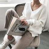 Womens Sweaters 2019 Autumn Winter Casual V Neck Women Pullover Sweater Solid Long Sleeve Fashion Loose Knitted Cashmere Top - RELEVAZA