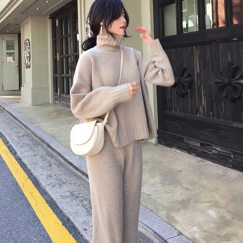 Casual Sweater Pants Knitted 2 Pieces Set Turtleneck Pullovers & Elastic Waist Pants Women Sweater Sets 2019 Autumn Knitted Set - RELEVAZA