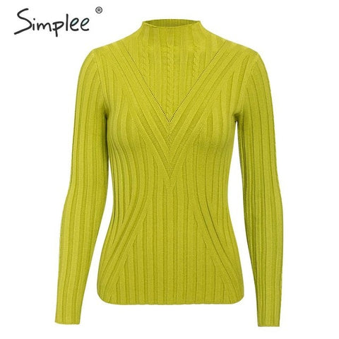 Simplee Knitted jumper sweater women autumn winter Long sleeve top turtleneck female sweater ladies bestmatch pullover jumpers - RELEVAZA
