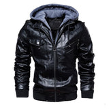 winter men's leather jacket motorcycle hooded jacket men's warm Leisure PU leather coats M-4XL - RELEVAZA