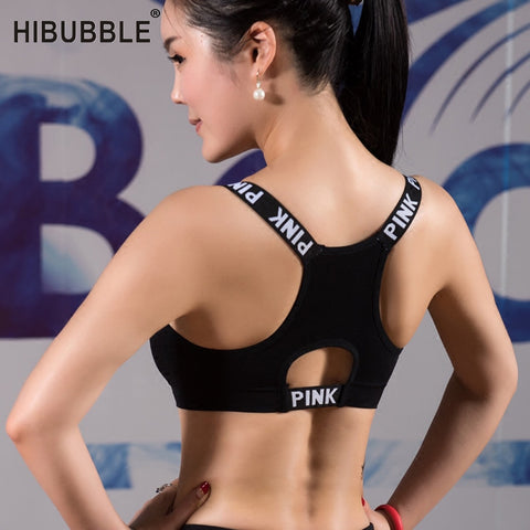 HIBUBBLE Women Sport Bra Top Black Padded Yoga Brassiere Fitness Sports Tank Top Female Sport Yoga Bra Push Up Sports Bra - RELEVAZA