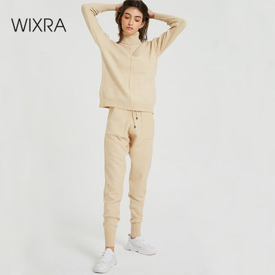 Wixra Women's Sweater Suits and Sets Turtleneck Long Sleeve Knitted Sweaters+Pockets Long Trousers 2PCS Sets Winter Costume - RELEVAZA