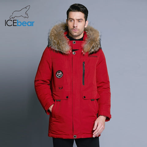 ICEbear 2019 new men's winter down jacket high quality fur collar coat detachable hat and fur collar male's clothing MWY18940D - RELEVAZA