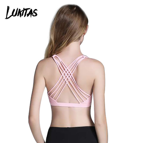 LUKITAS Women Sports Bra Quick Dry High Stretch Top Sport Push Up Fitness  Running Gym Breathable Cross Strap Yoga Bra Vest Tops - RELEVAZA