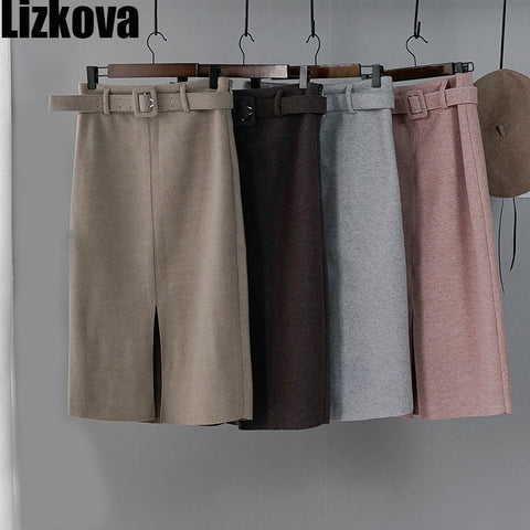 Women Winter Skirt Pink Wool High Waist Midi Skirt With Belt Warm Elegant Pencil Split Skirts - RELEVAZA