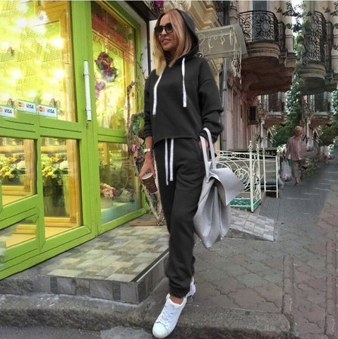 2018 Autumn Tracksuit Long Sleeve Thicken Hooded Sweatshirts 2 Piece Set Casual Sport Suit Women Tracksuit Set - RELEVAZA