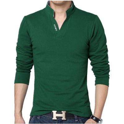 2018 Men Fashion Boutique Cotton Leisure Stand Collar Long Sleeve POLO Shirts Mens Pure Color V-neck POLO Shirt Big Size S-5XL - RELEVAZA
