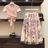 Sweet Women Print Rose Set 2019 Spring Summer Fashion Bandage Cross Cotton Blouses Tops and Long Midi A-line Skirts Suit - RELEVAZA