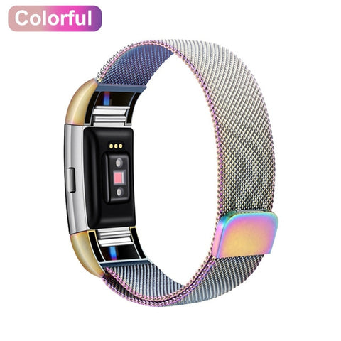 XShum Metal Stainless Strap For Fitbit Charge 2 Band Milanese Loop Magnetic Fitbit charge 3 Strap Smart bracelet For Wrist strap - RELEVAZA