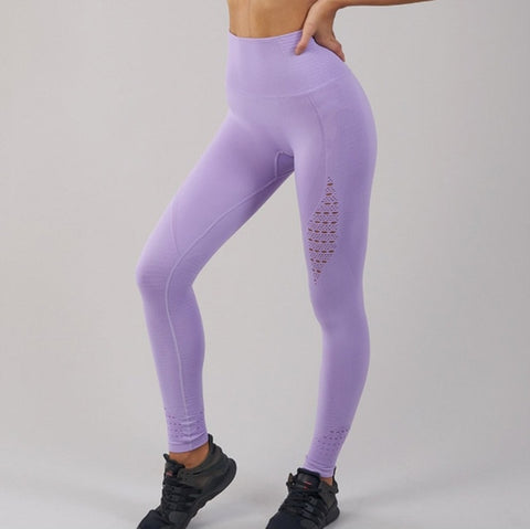 SALSPOR Seamless Shark Yoga Pants Women High Waist Stitching Hollow Sport Pants Female Running Training Fitness Gym Leggings - RELEVAZA