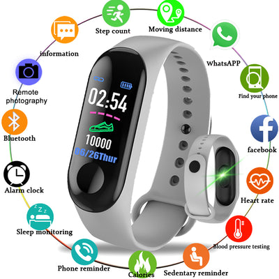 2019 Smart Sport Bracelet Wristband Blood Pressure Heart Rate Monitor Pedometer Smart Watch men For Android iOS - RELEVAZA