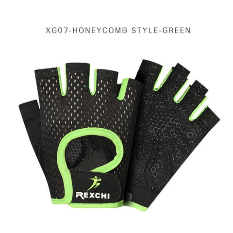 REXCHI Professional Gym Fitness Gloves Power Weight Lifting Women Men Crossfit Workout Bodybuilding Half Finger Hand Protector - RELEVAZA