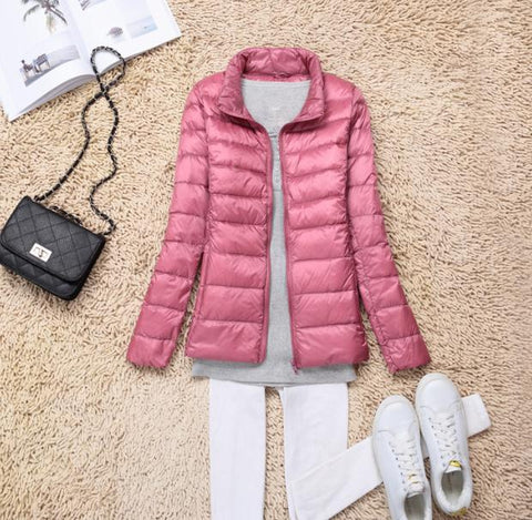 Sanishroly 2018 New Autumn Winter Women Thin White Duck Down Jacket Parka Female Ultra Light Down Coat Short Tops Plus Size S268 - RELEVAZA