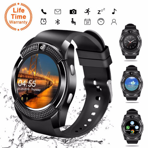 V8 SmartWatch Bluetooth Smartwatch Touch Screen Wrist Watch with Camera/SIM Card Slot, Waterproof Smart Watch DZ09 X6 VS M2 A1 - RELEVAZA