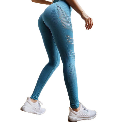 Seamless Tummy Control Yoga Pants Stretchy High Waist Compression Tights Sports Pants Push Up Running Women Gym Fitness Leggings - RELEVAZA