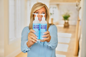 CleanBoss Clean Boss Joy Mangano Hand Sanitizer Patented Powerful Persistent Perfect Pump Petal Soft USA Trusted Science Alcohol Clean Protect Sanitize Kill Germs Bacteria Viruses