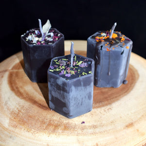 Herbal Hexagon Candles With Crystals By BlakByrd (Ottawa) - witchchest