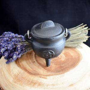 Small Cast Iron Cauldron With Lid - 3 Types - witchchest