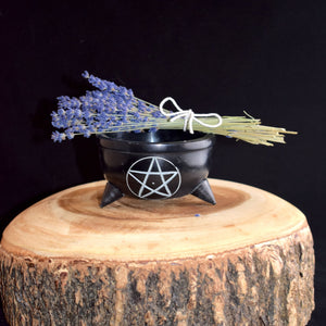 Soapstone Pentacle Smudge Pot - witchchest
