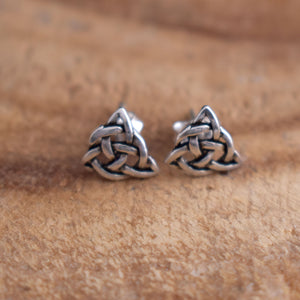 Sterling Silver Celtic Triquetra Post Earrings - witchchest