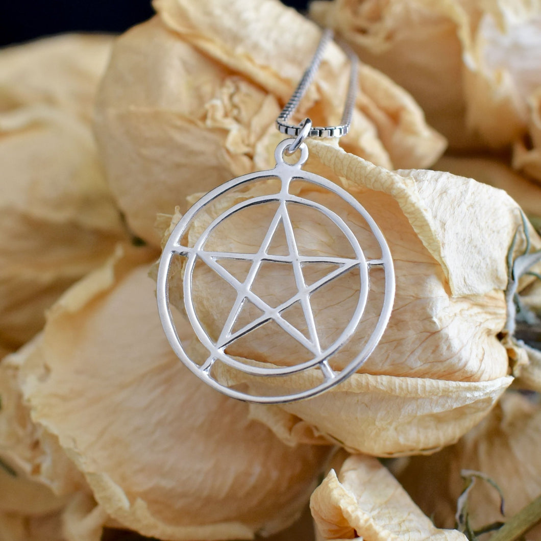 Sterling Silver Pentacle - 2 Inches - witchchest