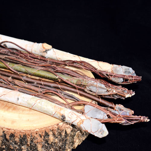 Wooden Crystal Wands Wrapped In Copper By Anne Cheng (Gatineau) - witchchest