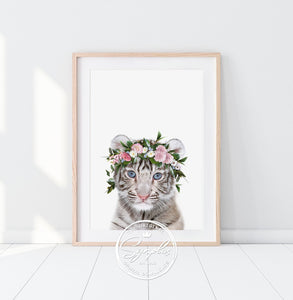 WHITE TIGERS ANIMAL GLOSSY WALL ART POSTER PRINT A1 - A5 SIZES AVAILABLE
