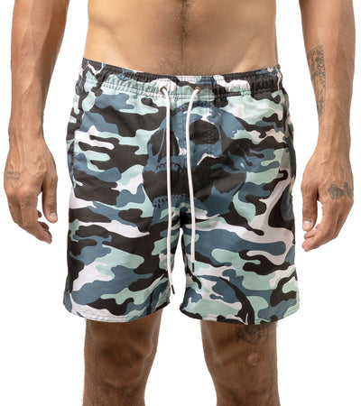 Blue Skull Camo Swim Trunks - Apache Concept Store