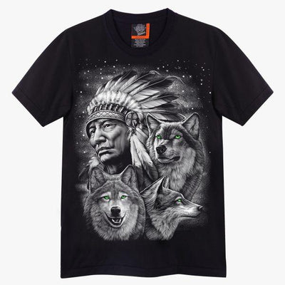 Native American Wolf T-shirt - Apache Concept Store