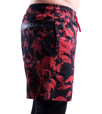Red & Black Rose Swim Trunks - Apache Concept Store