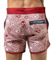 Red Skull & Rose Swim Trunks - Apache Concept Store