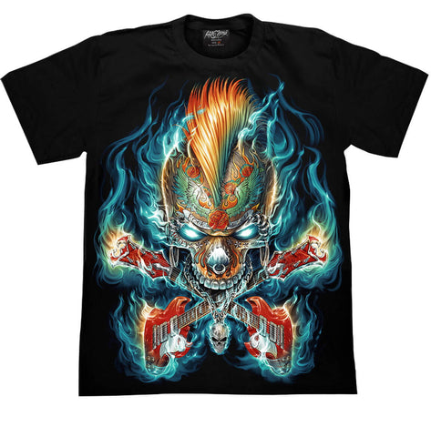 Skull Guitar Flames Metal T-shirt - Apache Concept Store