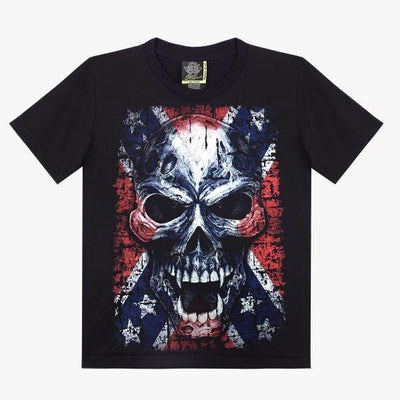 American Flag Skull T shirt - Apache Concept Store