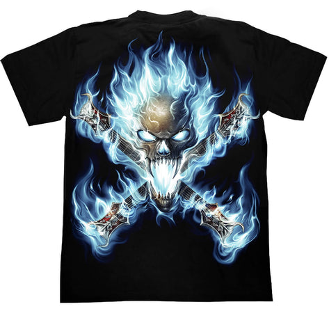 Skull Playing Guitar T-shirt - Apache Concept Store