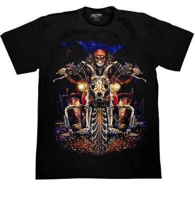 Skull Riding a Buffalo Bike T-shirt - Apache Concept Store
