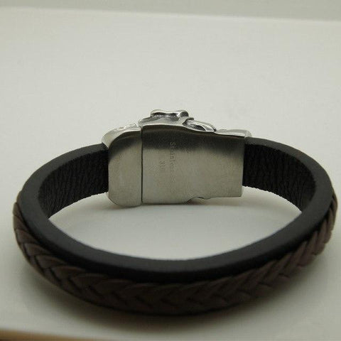 Large Skull Steel and Leather Bracelet - Apache Concept Store