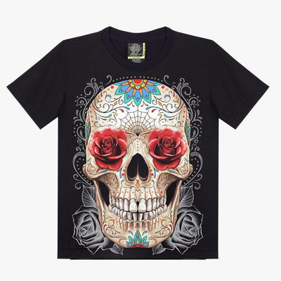 Mexican Skull with Roses T-shirt - Apache Concept Store