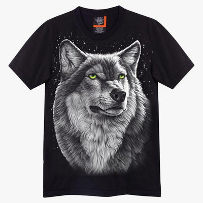 Black White Wolf T shirt - Apache Concept Store
