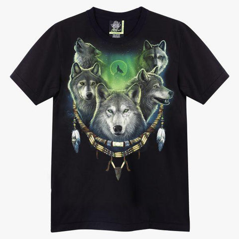 Wolves In Dream Catcher T-shirt - Apache Concept Store