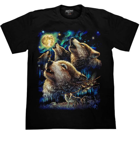 Wolf Howling at the Moon T-shirt - Apache Concept Store