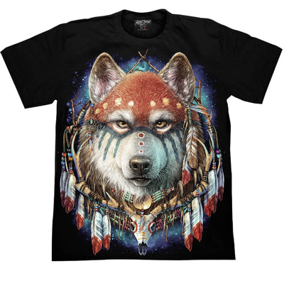 Native American Wolf T shirt - Apache Concept Store