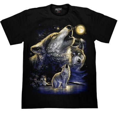 Wolf Howling at the moon T shirt - Apache Concept Store