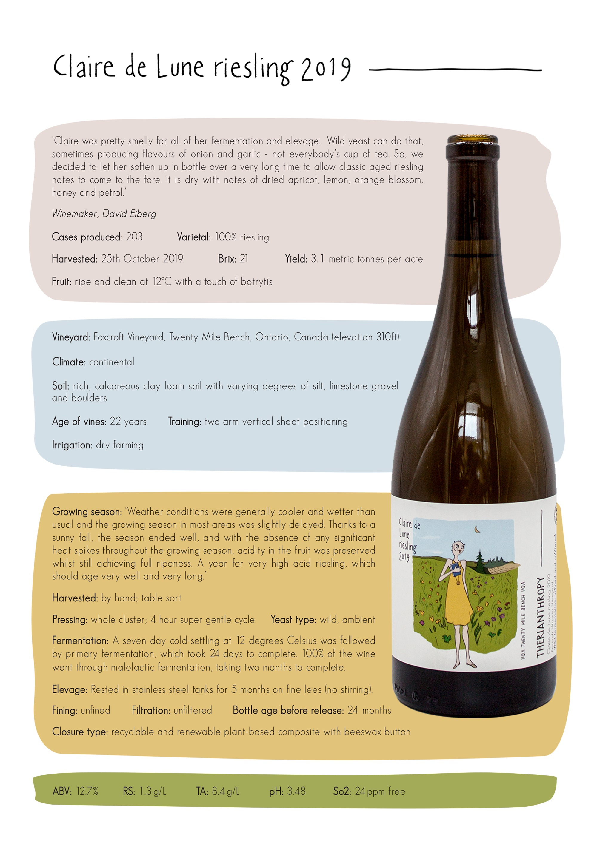 wine Claire de Lune riesling 2018.