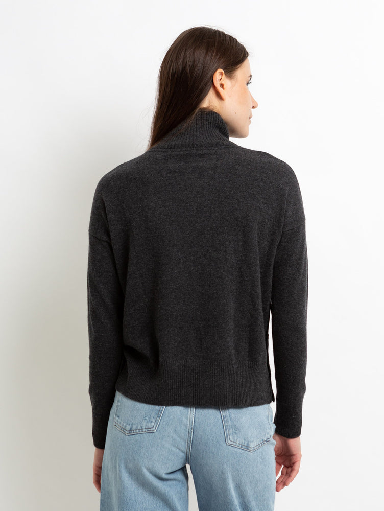 SIDE BUTTONED MOCK SWEATER