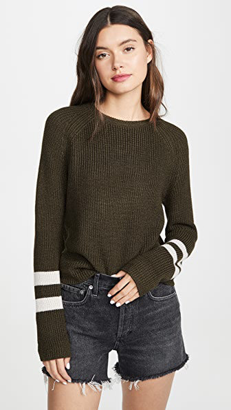 CHASEN ARMY STRIPE SLEEVE SWEATER