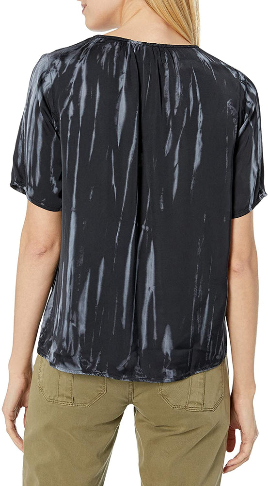 CHARCOAL TIE DYE SATIN S/S TOP
