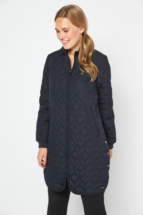 Load image into Gallery viewer, DARK NAVY PADDED QUILT COAT