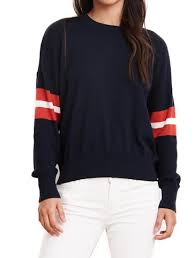 Load image into Gallery viewer, COTTON/CASHMERE PULLOVER CREW WITH STRIPE